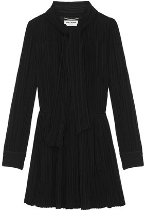 Saint Laurent Pleated Lavalliere-Neck Mini Dress