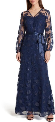 Tahari Embellished Long Sleeve Tie Waist Lace Gown
