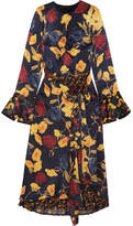 Mother of Pearl Floral-print Silk-satin And Pleated Chiffon Midi Dress - Navy
