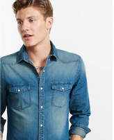 Express dark blue western denim shirt