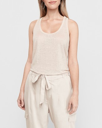 Express Linen Front Satin Back Scoop Neck Tank