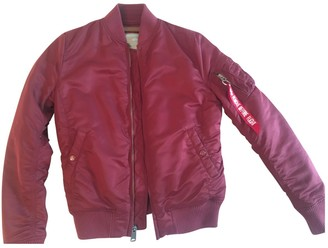 Alpha Industries Burgundy Leather Jacket for Women