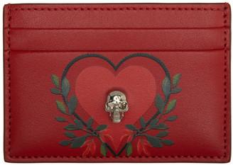 Alexander McQueen Red Skull Heart Card Holder