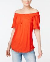 INC International Concepts Petite Pom-Pom Off-The-Shoulder Top, Only at Macy's