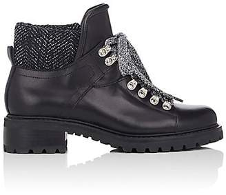 Barneys New York Women's Leather & Tweed Lace-Up Ankle Boots - Black