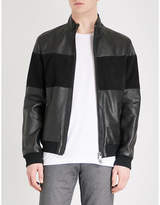 Boss Panelled Leather And Suede Jacket