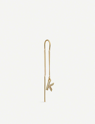 Rachel Jackson Art Deco Initial 'K' 22ct yellow gold-plated sterling silver threader earring