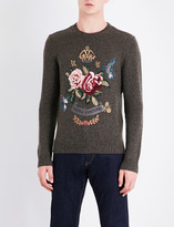 Ralph Lauren Purple Label Round-neck embroidered floral detail cashmere jumper