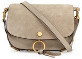 Chloé Kurtis Medium Suede/Leather Studded Shoulder Bag, Light Gray