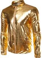 Idopy Men`s Gold Metallic Coating Nightclub Zip Up Jacket XS