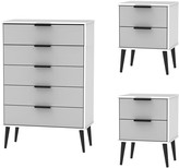 Swift Copenhagen 3 Piece Ready Assembled Package - 5 Drawer Chest and 2 Bedside Chests