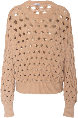 Brunello Cucinelli Oversized Cable-Knit Cotton-Blend Sweater