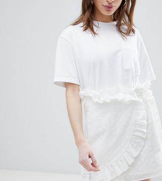 Lost Ink Petite Mini Wrap Skirt In Broderie Anglaise