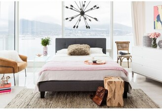 Aurelle Home Grey Upholstered Contemporary Bed