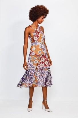 Karen Millen Floral Halter Midi Dress With Cross Front