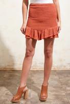 Sadie & Sage Rust Ruched Mini Skirt Rust L