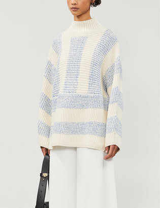 Reiss Astrid striped cotton-blend knitted jumper