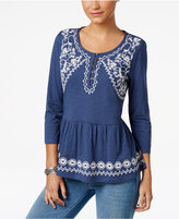 Style&Co. Style & Co Petite Embroidered Peplum Top, Only at Macy's