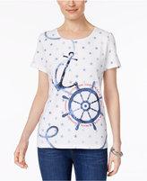 Karen Scott Nautical-Print Cotton T-Shirt, Only at Macy's