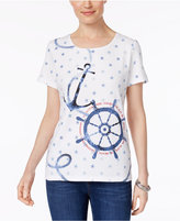 Karen Scott Petite Cotton Anchor Graphic T-Shirt, Only at Macy's