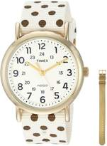Timex Women's TWG015200 Weekender Cream/Gold Dots Nylon Slip-Thru Strap Watch Gift Set + Metallic Gold-Tone Leather Strap