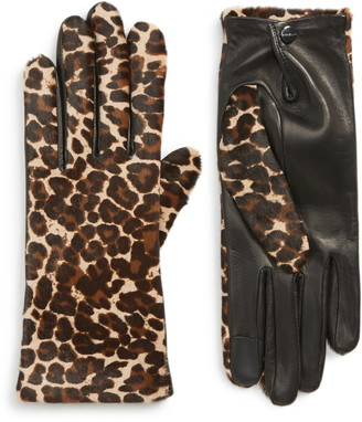 Agnelle Leopard Print Genuine Calf Hair & Lambskin Leather Gloves