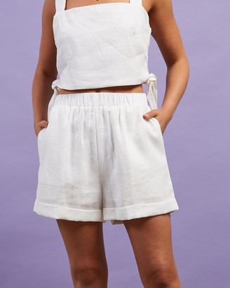 Dazie - Women's White High-Waisted - Little Italy Linen Shorts - Size 6 at The Iconic