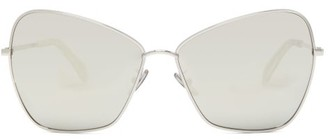 Celine Oversized Mirrored Butterfly Metal Sunglasses - Womens - Silver
