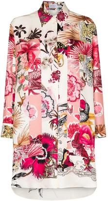 Salvatore Ferragamo Floral-Print Long-Line Shirt