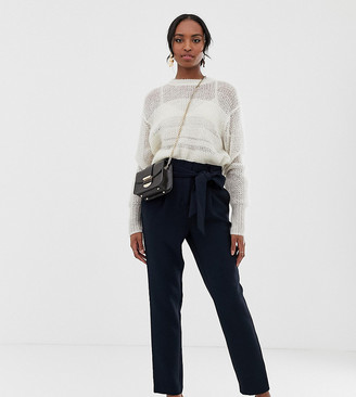 Y.A.S Tall paperbag waist tapered trouser-Navy