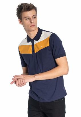 Merc Clyde Men's Cotton Colour Block Polo Shirt in Blue XX-Large (UK: XXL)