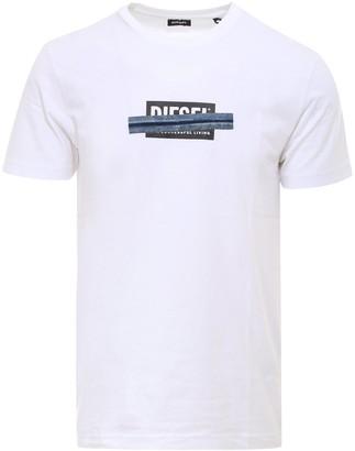 Diesel Logo Denim Tape Print T-Shirt