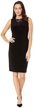 Lauren Ralph Lauren Bonded Matte Jersey-Dress w/ Combo (Black) Women's Dress