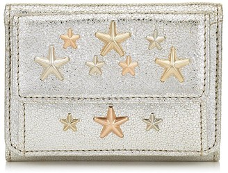 Jimmy Choo NEMO Champagne Glitter Leather with Rose Gold Multi Metal Stars Small Wallet
