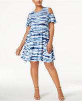 Style&Co. Style & Co Plus Size Printed Cold-Shoulder Swing Dress, Created for Macy's