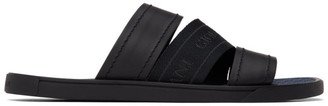 Giorgio Armani Black Leather and Nylon Slide Sandals