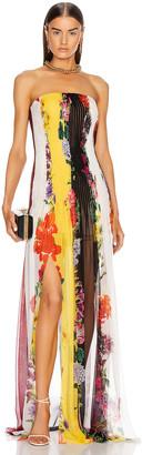 Oscar de la Renta Strapless Floral Striped Gown in Ivory Multi | FWRD