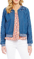 Copper Key Embroidered Chambray Bomber Jacket