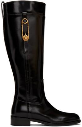 Versace Black Medusa Riding Boots