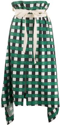 Plan C Checked Tie-Waist Skirt