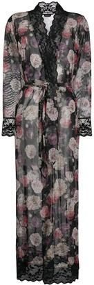 Emporio Armani Floral Print Sheer Robe