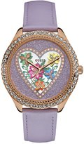 GUESS Purple and Rose Gold-Tone Flower Watch
