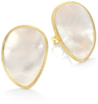 Marco Bicego Lunaria 18K Yellow Gold & White Mother-Of-Pearl Stud Earrings