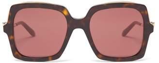 Cartier Eyewear - Panthere Square Tortoisehell-acetate Sunglasses - Womens - Red Multi