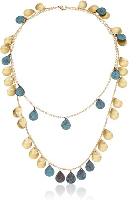 Panacea Patina Gold Charm Two Row Necklace 24