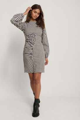 NA-KD Front Ruched Checked Dress