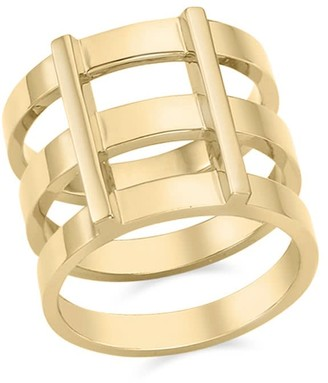 Ille Lan Rascas R2 Triple Stacked Chunky Moderno Unisex Ring in Yellow Gold 925 Silver