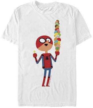 Fifth Sun Slim Far From Home Ice Cream Cartoon Mens Crew Neck Short Sleeve Spiderman Graphic T-Shirt