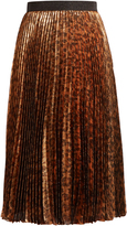 Christopher Kane Leopard-print pleated lamé midi skirt