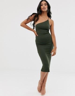 ASOS DESIGN going out one shoulder bodycon midi dress in khaki